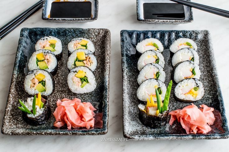 Salmon and surimi sushi
