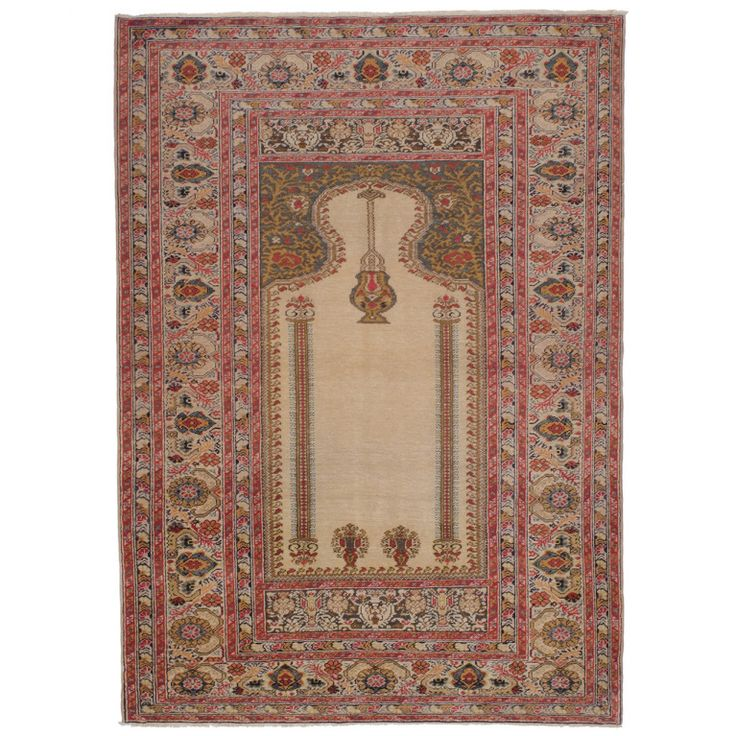 Antique Bandirma Prayer Rug | From a unique collection of antique and modern turkish rugs at https://www.1stdibs.com/furniture/rugs-carpets/turkish-rugs/