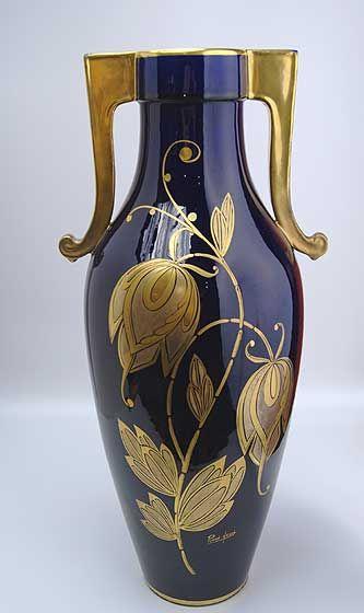 Cobalt Blue Art Nouveau Vase Signed Pinon Heuze