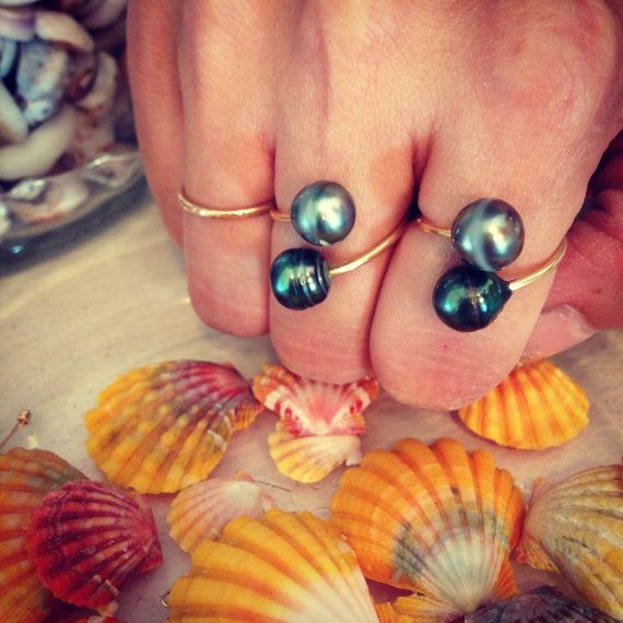 Double Tahitian Pearl Ring 14kt Gold Filled