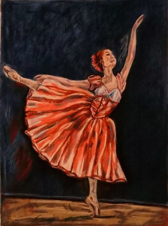 Buy Pink ballerina, Pastel drawing by Anna  Sasim on Artfinder. Discover original art for sale, paintings, prints from independent artists. #ballet #dancer Soft pastel art on Pastelmat paper, woman drawing, woman painting.