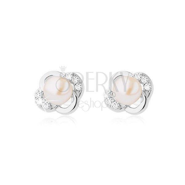 925 ezüst fülbevaló, virág sima és cirkonköves szirmokból, fehér gyöngy   Ekszer Eshop