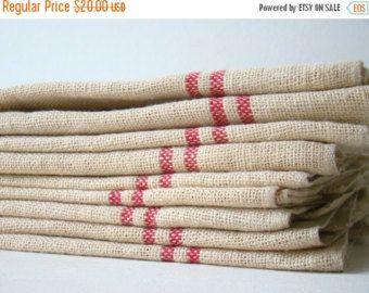 EOYC antique french métis kitchen towel, red stripes, vintage french kitchen linens, red and beige, vintage tea towel