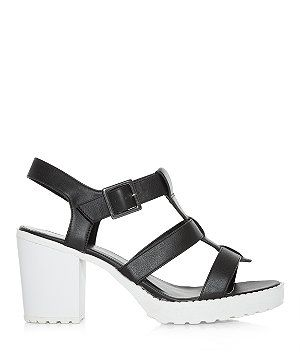 Monochrome Cleated Sole Caged Block Heel Sandals
