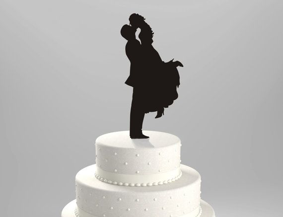 Wedding Cake Topper Silhouette Groom Lifting his Bride, Acrylic Cake Topper [CT18]