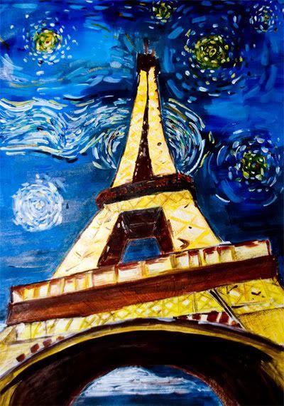 eiffel tower, van gogh, eiffel, tower, painting, ntu, adm, 2d, acrylic