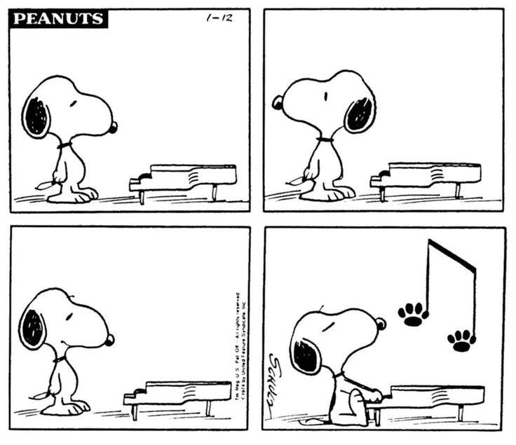 Snoopy decides to take over for Schroeder's Piano.