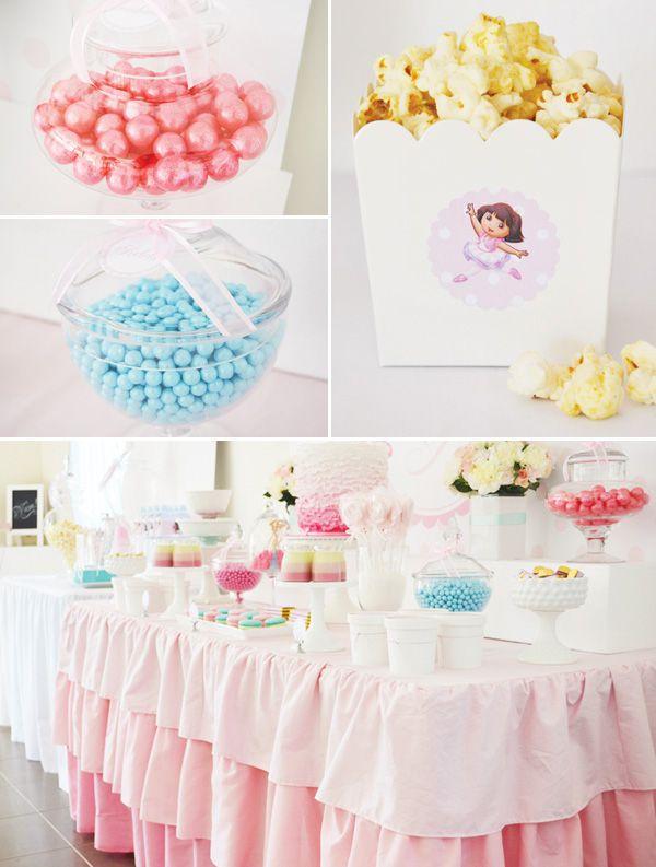 Pink Dora Ballerina Party // Hostess with the Mostess®   Dora theme birthday party ideas and inspiration