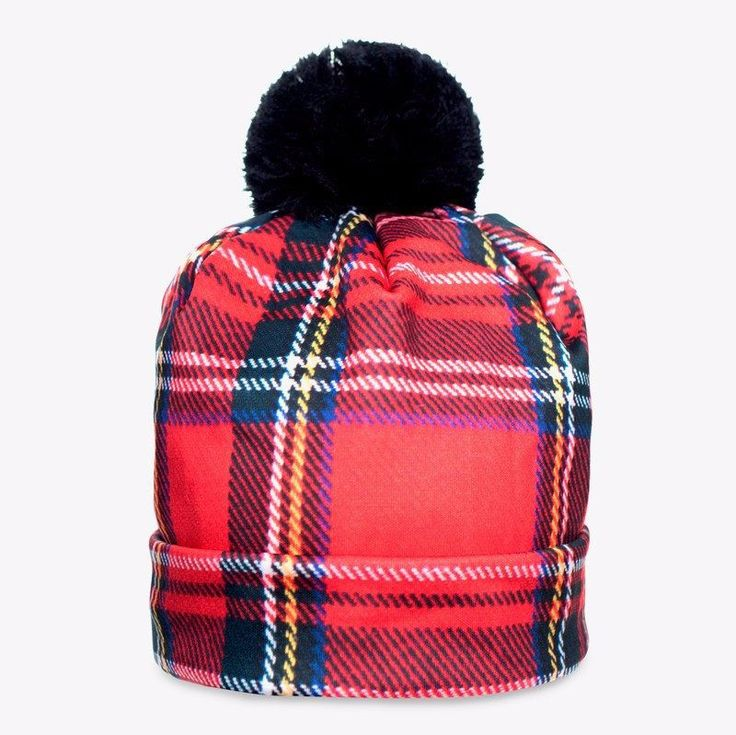 red plaid pom pom hat pom pom hat red plaid and plaid. Black Bedroom Furniture Sets. Home Design Ideas