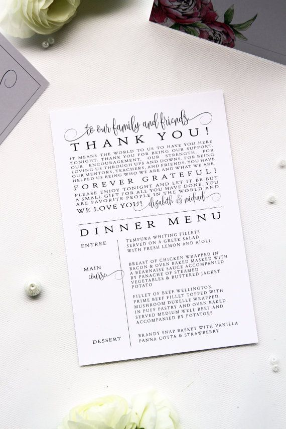 Peony Menus with Thank you Note