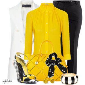 BLACK D&B BAG - Black Pant, Yellow Blouse, White Jacket, Black Shoes