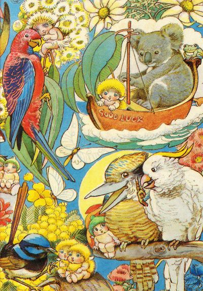 Good Luck Boat.  The Gumnut Babies  as drawn by May Gibbs, Australian author and illustrator