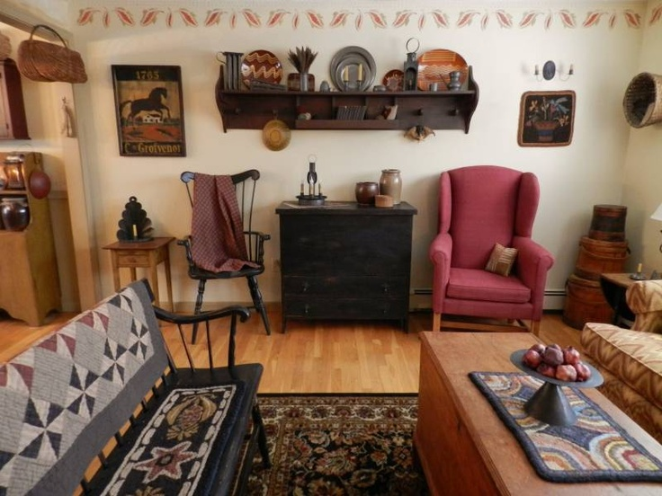 102 best Prim Living Rooms images on Pinterest Primitive decor