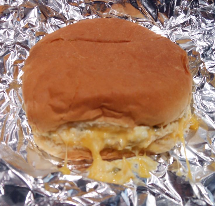 Tuna Burgers - one of my favorite meals! Chopped hard boiled eggs and chunks of cheese all wrapped up in foil and heated in the oven. The cheese was all melted! :0)  Yummy!