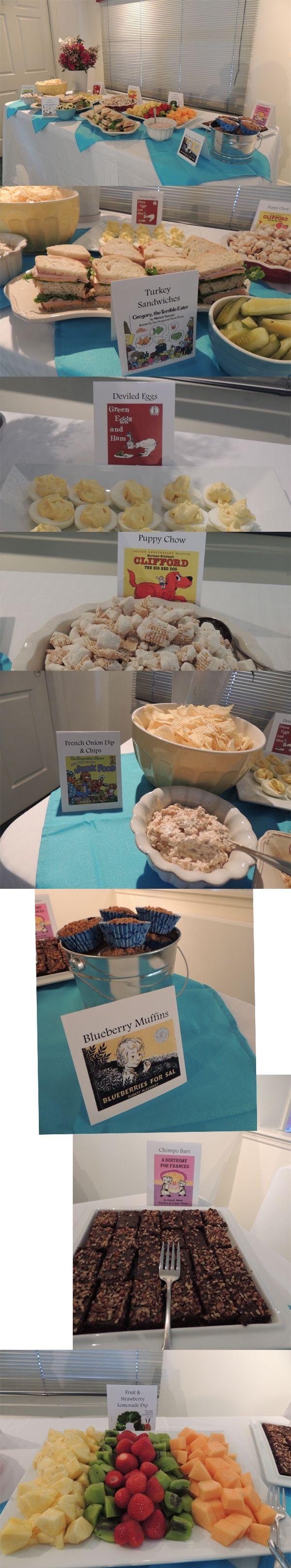children's book theme baby shower food