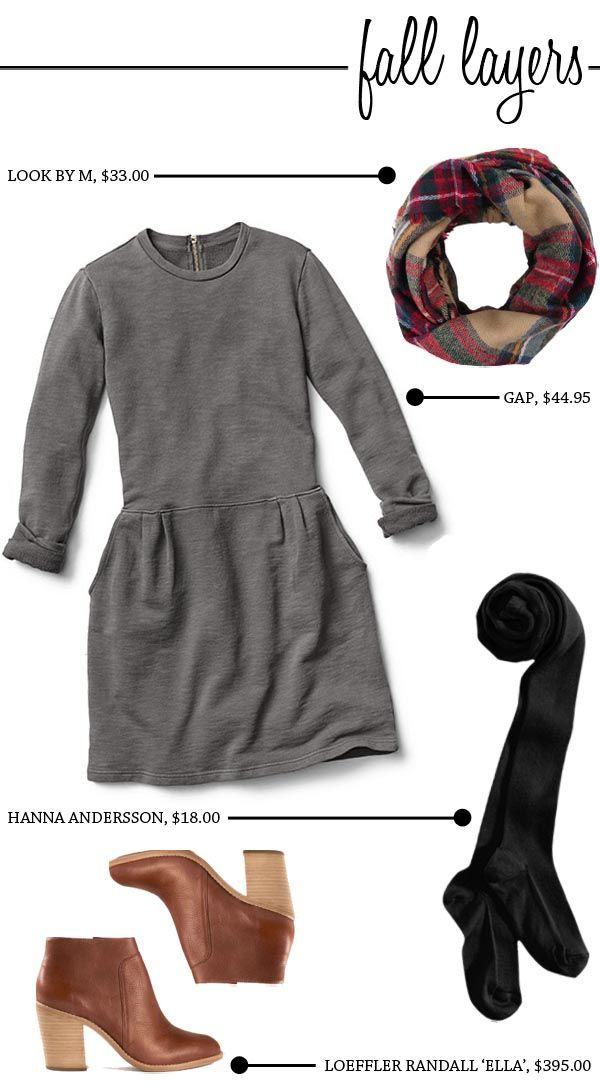 Perfect Fall Layers with the GAP sweatshirt dress, plaid scarf, tights and booties.