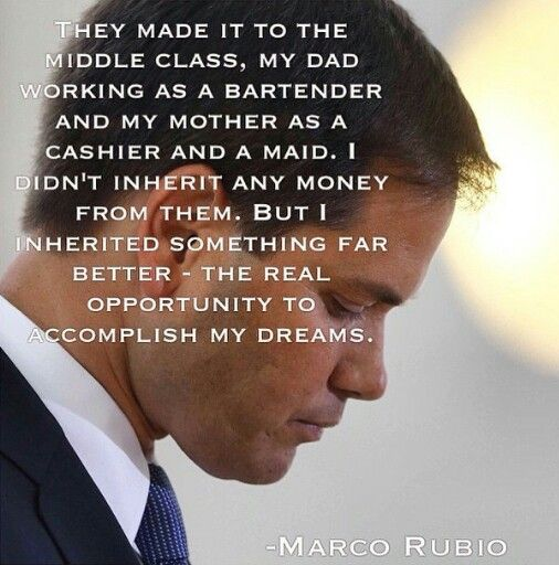 Marco Rubio -- I like this quote because it reminds me what the American Dream really is about -- not a standard of living or getting rich but about having the same opportunity as everyone else to go after what is important to you. It is the freedom and opportunity we preserve and hand down to our kids -- not money and things.