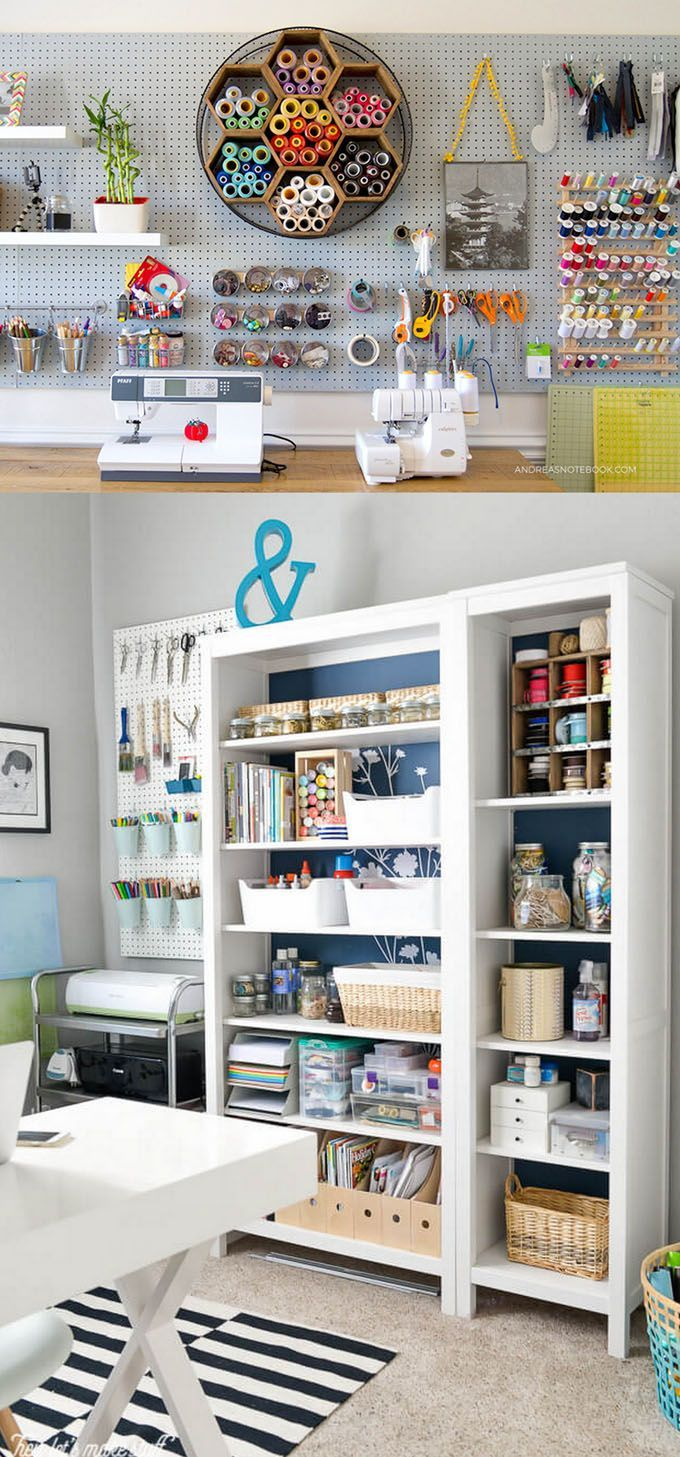 21 Great Ways To Completely Organize Your Workshop Or Craft Room How To Best Utilize Pegboards Craft Room Furniture Craft Room Design Organization Furniture