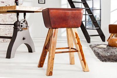 Luxusný nábytok REACTION: Barová stolička BOCKER z pravej kože.