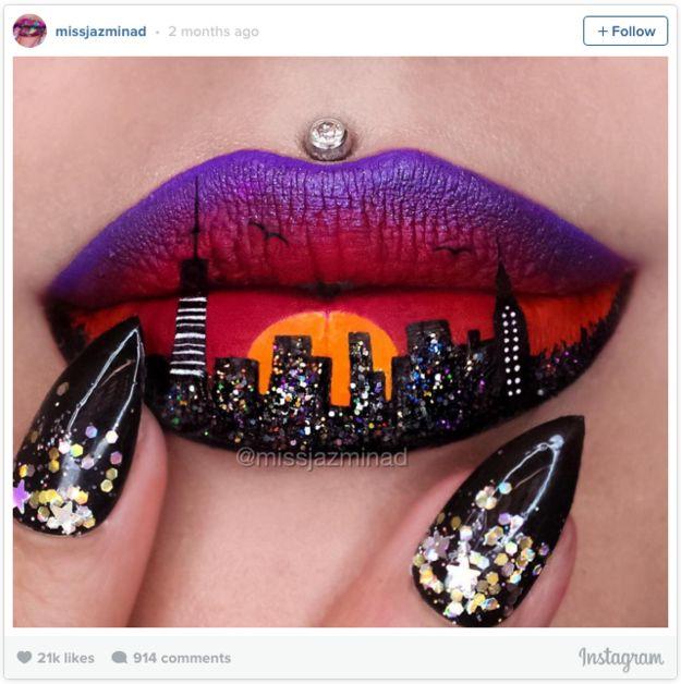 … und diese auffallend feurige Skyline. | 17 Leute, die mit Lippenstiften wahre Kunstwerke hervorzaubern können
