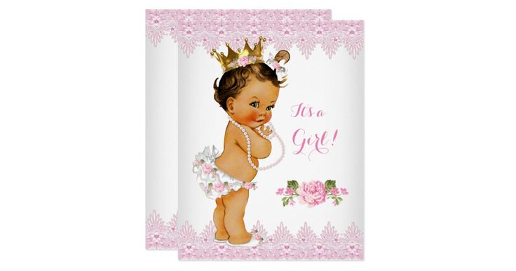 """Princess Girl Baby Shower Pink Rose Lace White Floral. Brunette Baby Shower. Little Princess Baby Shower. Elegant Pearls Girl with a Gold Crown Roses Baby Shower. Elite Baby Shower. """"it's a Girl!"""""""