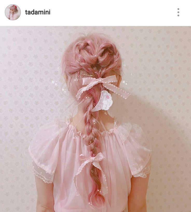 Kawaii hair pink braid bows bow