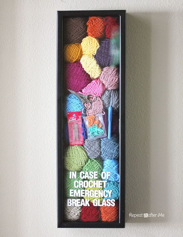 Crochet emergency yarn stash. Make a smaller sewing emergency kit from a standard-sized picture frame, sewing pattern, notions, needles, and thread.