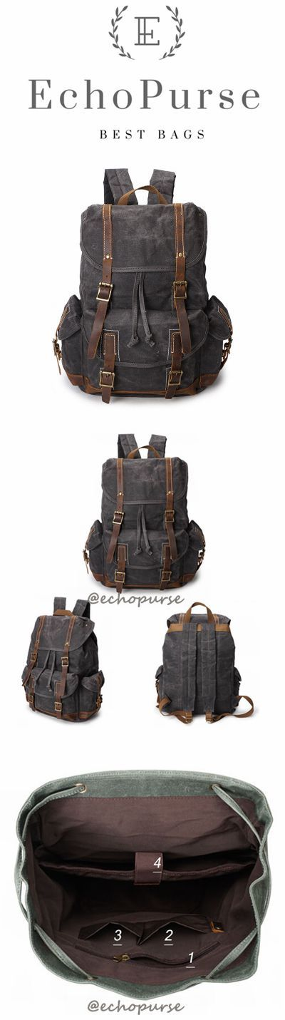 Oil Waxed Canvas Backpack, Vintage Waterproof Sports Backpack, Grey Travel Backpack YD256