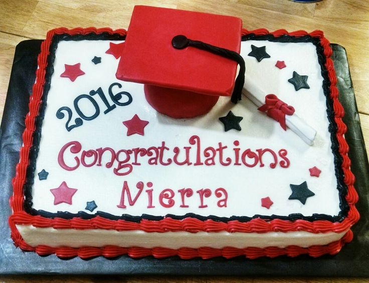 Red and Black Graduation Cake with Edible Grad Cap