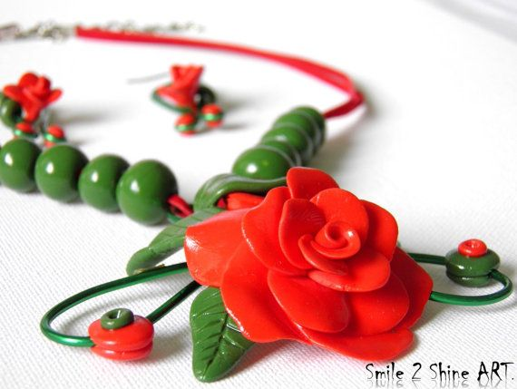 Red rose necklace Polymer clay red rose necklace by Smile2ShineArt