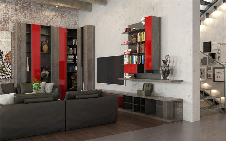 Industrial Element Living Room Leisure Area with Bookcase