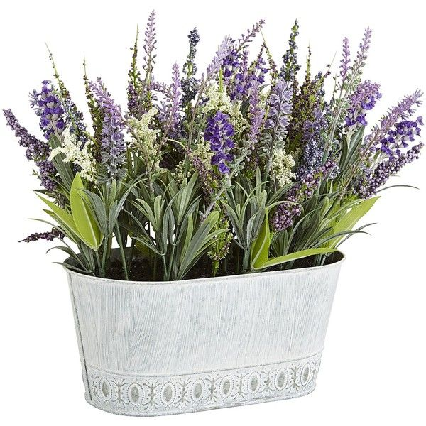 Pier 1 Imports Multi-colored Faux Lavender Arrangement (57 AUD) ❤ liked on Polyvore featuring home, home decor, floral decor, multicolor, outside home decor, pier 1 imports, artificial arrangement, outdoor planters and outdoor home decor