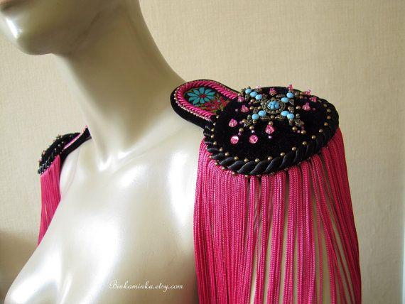 Epaulettes Black Pink Turquoise. $70.00, via Etsy.