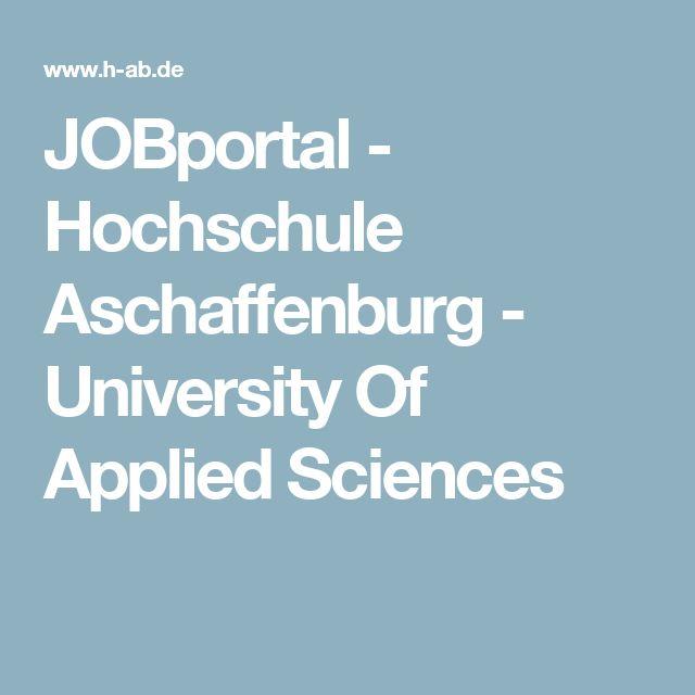 JOBportal - Hochschule Aschaffenburg - University Of Applied Sciences