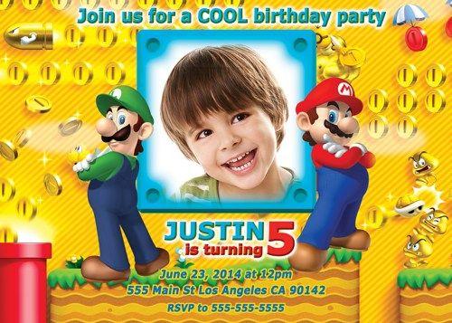 Mario invitation, Super Mario invitation, Mario personalized