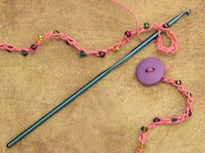 making a crochet loop for button clasp on hemp bracelet