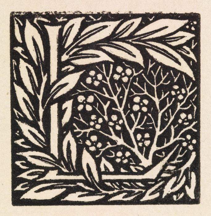 Wood Engraving - Love is Enough - Initial letter 'L' entwined with Laurel Leaves - This design was intended for use with William Morris' metrical romance 'Love is Enough', 1871-72.  designed  & cut by Morris himself. late 1880s. - Birmingham Museums