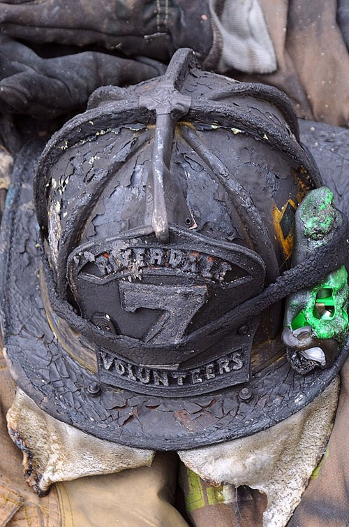 The man who wore this fire helmet died trying to help save some one can't have much more respect than that