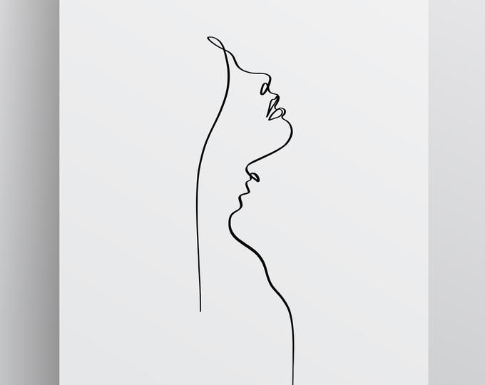 Printable Abstract One Line Couple Minimal One Line Drawing