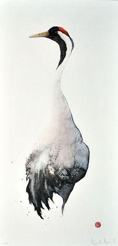 Grue du Japon   (grus japonensis)    Karl Martens WATERCOLOR