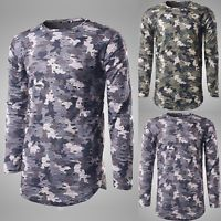 Summer Men's Slim Long Sleeve Crew Neck Camouflage Shirt Casual T-Shirts Tops