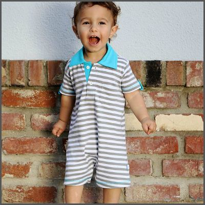 Striped 'All Boy' Polo Romper. He loves trains, trucks and his mummy most of all... he's 'All Boy!' Now he can strut his stuff in this polo-style preppy romper, while remaining your tough little guy! The easiest outfit ever, one piece - easy on, easy off! This romper features a polo-style neck and bottom snaps to make nappy changing a breeze.
