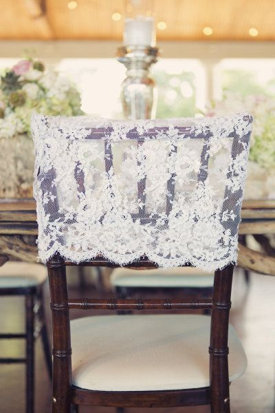 Style Me Pretty: lace capped chairs. Easy and so pretty to make or buy a bolt of chiffon in the wedding colors and tie around the chairs with a bow