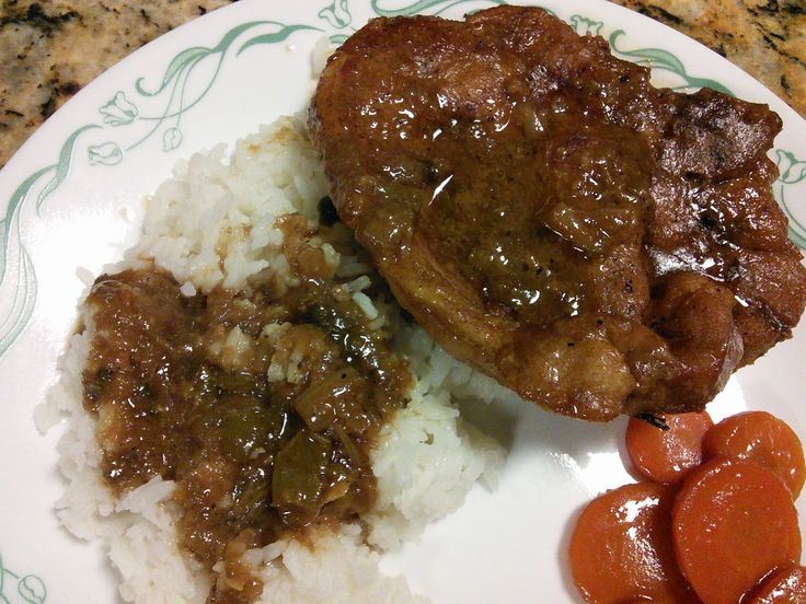 A Louisiana favorite! Pork Chops, Rice and Gravy