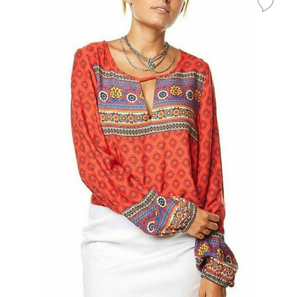 Boho Queen top It doesn?t get better than the Mink Pink Boho Queen Top. This multi coloured long sleeve top features a mixed boho print, cut out detail at the neckline, and elastic at the wrisys.  Runs a size small. 100% viscose MINKPINK Tops Blouses
