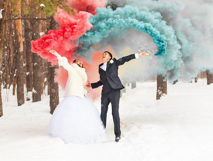 Rauchfackeln zaubern tolle Effekte auf Eure Hochzeitsfotos