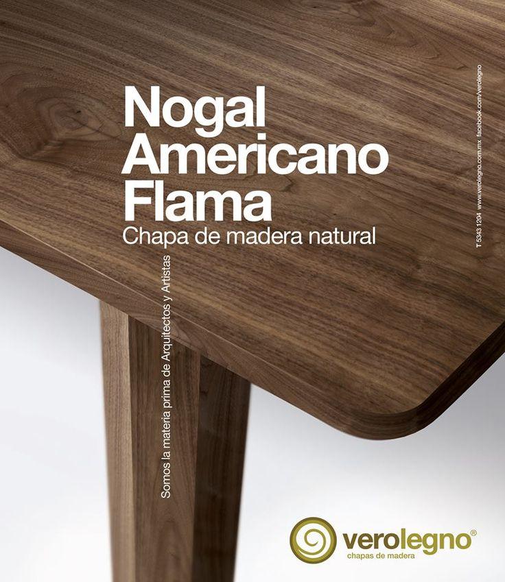 Chapa de madera natural nogal americano flama de verolegno chapas naturales verolegno - Nogal americano muebles ...