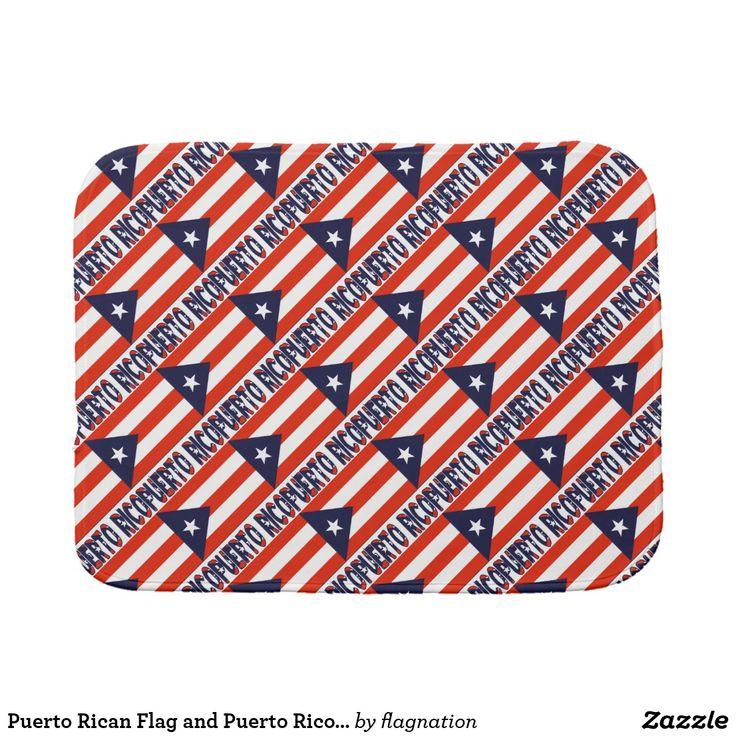 Puerto Rican Flag and Puerto Rico Diagonal Tile Burp Cloth