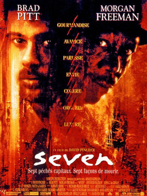 Seven est un film de David Fincher avec Brad Pitt, Morgan Freeman. Synopsis : Pour conclure sa carrière, l'inspecteur Somerset, vieux flic blasé, tombe à sept jours de la retraite sur un criminel peu ordinaire. John Doe, c'est a