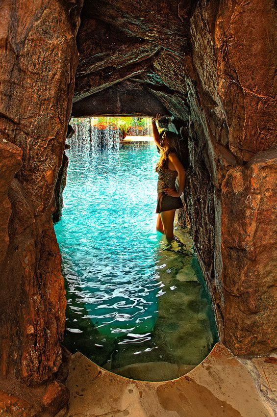 cave like walk way under slide going to back of grotto water cave grotto gunite slide grotto pinterest cave water and swimming pools - Cool Pools With Caves